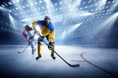 Ice hockey players on the grand ice arena. Hockey players on the grand ice arena royalty free stock image
