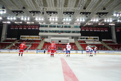 Ice hockey players ready to play in the closing ceremony Stock Photography