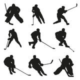 Ice hockey players silhouettes. Ice hockey players, set of  silhouettes Stock Photos