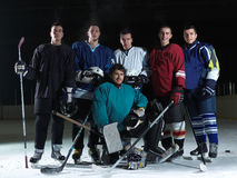 Ice hockey players team. Group portrait in sport arena indoors Royalty Free Stock Photography