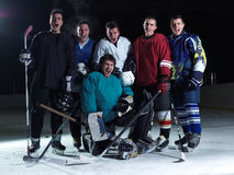 Ice hockey players team. Group portrait in sport arena indoors Stock Photography