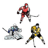 Ice hockey players vector illustrations Royalty Free Stock Image