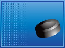 Ice hockey puck on blue halftone banner Royalty Free Stock Photography
