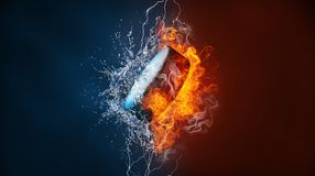 Ice hockey sports tournament modern poster template. Ice hockey puck exploding by elements fire and water. Background for sports tournament poster or placard Stock Photo