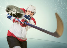 Ice hockey puck hit the opponent visor stock photos