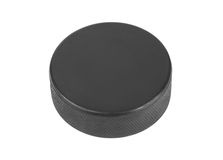 Ice hockey puck. Isolated on white background Stock Photography