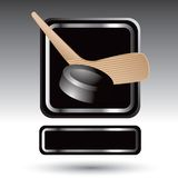 Ice hockey puck and stick in silver framed ad Royalty Free Stock Photo