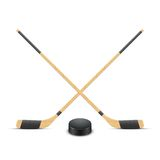 Ice Hockey puck and sticks. Vector. Royalty Free Stock Photo