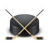 Ice Hockey puck and sticks. Vector. Stock Image
