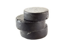 Ice hockey pucks royalty free stock image
