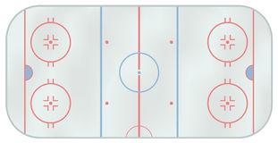 Ice hockey rink. Computer generated illustration of an ice hockey rink. Above view Stock Photo