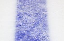 Ice hockey rink blue markings closeup, winter sport background stock photos