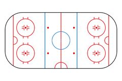 Ice hockey rink. Mockup background field for sport strategy and poster. Vector. Royalty Free Stock Photos