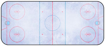 Ice Hockey Rink. An overhead view of an ice hockey rink complete with markings Stock Image