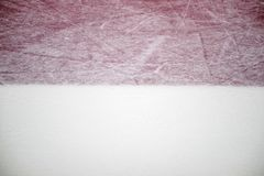 Ice hockey rink red markings closeup, winter sport background.  royalty free stock images