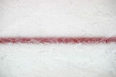 Ice hockey rink red markings closeup, winter sport background.  stock photos