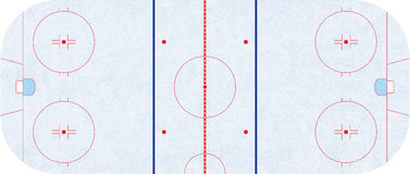 Ice hockey rink - regulation NHL. Ice hockey rink - to exact specifications to NHL goal line, trapezoid, goal crease and blue line are to specs made in 2005 and stock illustration