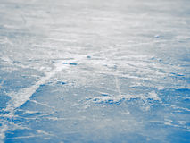 Ice hockey rink surface background, abstract blue ice, selective. Focus, shallow dof Royalty Free Stock Images