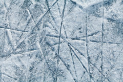 Ice hockey rink with traces from skates. Top view Stock Photography