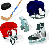 Ice hockey set. Set of a ice-hockey accessories Stock Photo