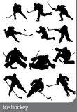Ice hockey silhouettes Stock Photography