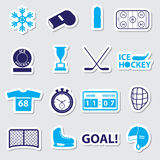 Ice hockey sport blue stickers set Stock Photo