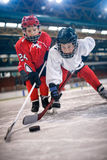 Ice hockey sport boys players. Ice hockey sport young boys players stock image