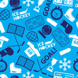 Ice hockey sport icons blue seamless pattern eps10. Ice hockey sport icons blue seamless pattern Stock Images