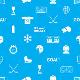 Ice hockey sport icons blue and white seamless pattern Stock Photography