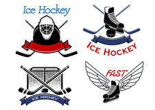 Ice hockey sport icons and symbols Royalty Free Stock Photos