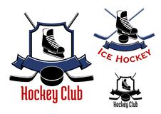 Ice hockey sports and club label or logo Stock Images
