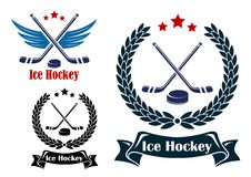 Ice Hockey sports emblems Royalty Free Stock Photo