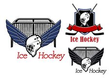 Ice hockey sports emblems and icons. Ice hockey emblems and icons with hockey gate, winged goalie mask and heraldic shield, crossed stick, helmet and ribbon Stock Image
