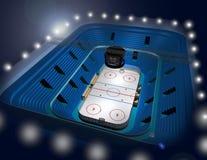 Ice hockey stadium arena 3D illustration. Modern ice hockey stadium arena 3D illustration stock illustration