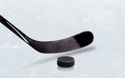 Ice Hockey Stick and Puck With Copy Space Stock Image