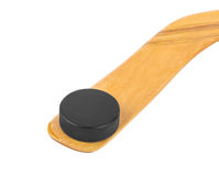 Ice hockey stick and puck. Isolated on white background Stock Photography
