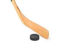 Ice hockey stick and puck. Isolated on white background Royalty Free Stock Photo