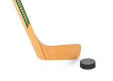 Ice hockey stick and puck Royalty Free Stock Images