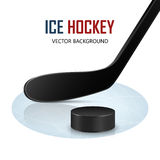 Ice hockey stick and puck on rink. Vector Stock Image