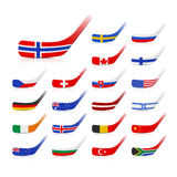 Ice hockey sticks with flags Royalty Free Stock Image