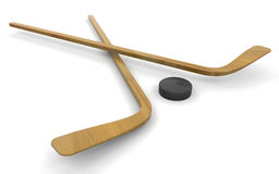 Ice hockey sticks and puck Stock Photos