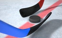 Ice Hockey Sticks And Puck Royalty Free Stock Photos