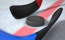 Ice Hockey Sticks And Puck Royalty Free Stock Image