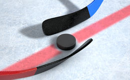 Ice Hockey Sticks And Puck Royalty Free Stock Photo