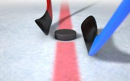Ice Hockey Sticks And Puck Stock Image