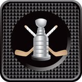 Ice hockey sticks and trophy on black web icon stock illustration