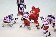 Ice hockey struggle - Slavia Prague vs. Lev Prague Stock Photography