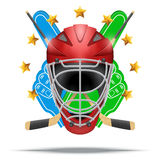 Ice hockey symbol. Design elements. Ice hockey symbol goalie helmet with fan fingers and sticks. Design elements. Illustration isolated on white background Stock Photography