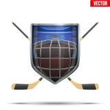 Ice hockey symbol. Design elements. Ice hockey symbol goalie helmet inside shield with sticks. Design elements. Illustration  on white background Royalty Free Stock Photography