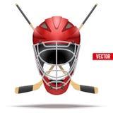 Ice hockey symbol. Design elements. Ice hockey symbol with goalie helmet and sticks. Design elements. Illustration isolated on white background Royalty Free Stock Photos
